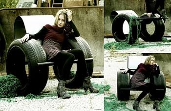 Кресло-качалка на грузовых шинах.