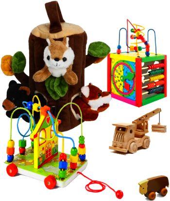 Деревянные игрушки в комбинации с мягкими.